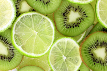 Kiwi and lime slices background