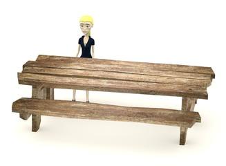 3d render of cartoon character sit behind table