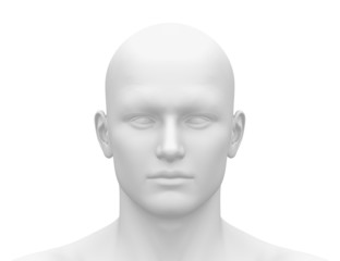 Blank White Male Head - Front view