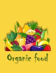 Овощи и фрукты, вектор фон