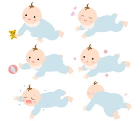 赤ちゃん乳児 はいはい2 ずり這い 男の子