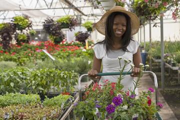 African woman shopping in garden nursery