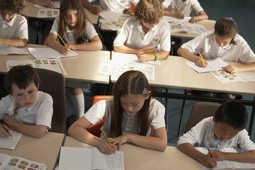 Multi-ethnic elementary students in class