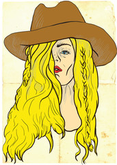 """An hand drawn illustration of young woman in big """"cowboy"""" hat."""