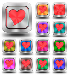 Red heart aluminum glossy icons, crazy colors
