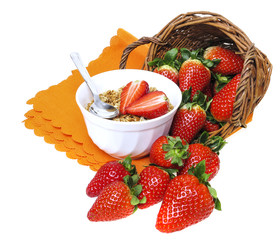 healthy breakfast - cereal with strawberries - isolated on white