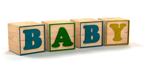 Baby Spelled out In Child Color Blocks