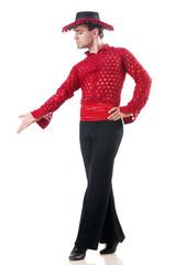 Man dancing spanish dances on white