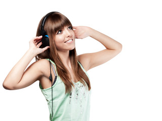 very pretty young woman with headset - isolated