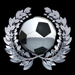 Football soccer ball in silver laurel wreath on black background