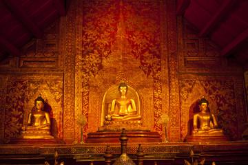 three buddha and art wall temple