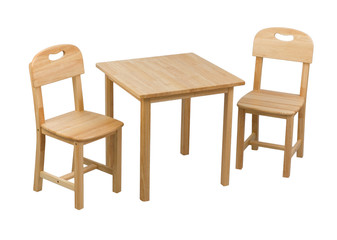 A small wooden chairs and desk for kids