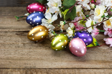 spring flowers and easter eggs decoration