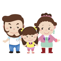 illustration of cute family with white