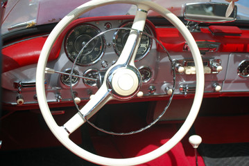 Photo on textile frame Old cars vintage car steeling wheel and dashboard
