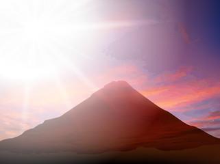 富士山 富士 初日の出 背景 夕焼け