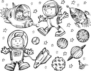 Wall Murals Cartoon draw Outer Space Sketch Doodle Vector Set