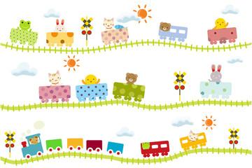 子供向け可愛い踏切のある線路を走る動物電車