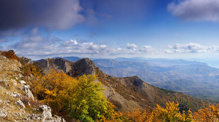 Beautiful view of the Crimean Mountains in the fall. Ukraine.