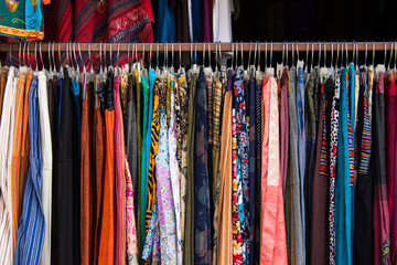Female clothing hanging in a shop