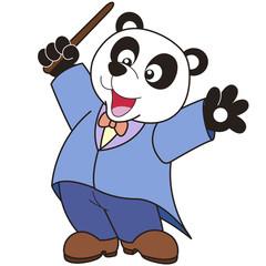 Cartoon Panda music conductor.