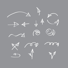 Hand drawn vector arrow collection on gray background