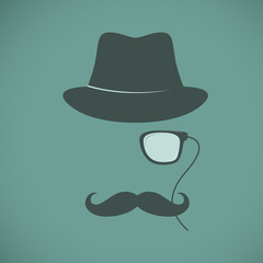 Funny vintage hipster trendy monocle poster