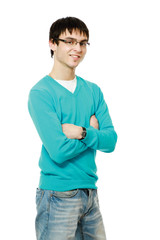A young man wearing glasses, isolated on a white background