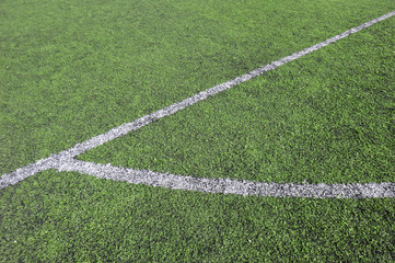 corner of a synthetic football field, detail