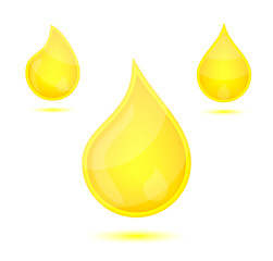 Yellow liquid drops icon emblem