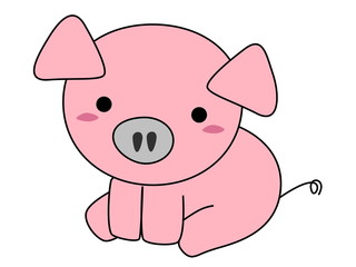 Pink pig cartoon isolated on white background