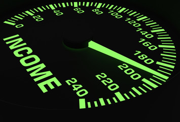 Speedometer showing rising of income