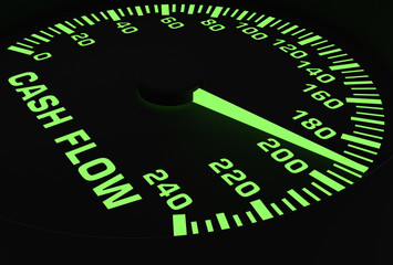 Speedometer showing rising of cash flow