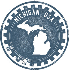 Michigan USA State Stamp