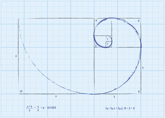 Fibonacci Sequence - Golden Spiral Sketch