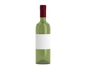 Weinflasche Grün Kappe rot mit Etikett