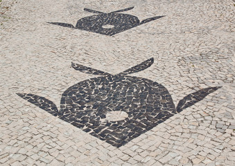 Mosaic of sidewalk Barra da Tijuca in Rio de Janeiro