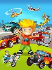 Foto auf AluDibond Autos The vehicles - the label with kid - illustration