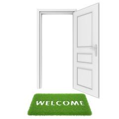 open door with a rug of grass