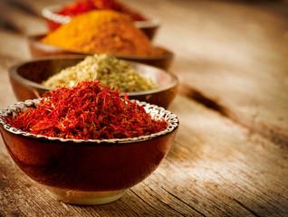 Spices Curry, Saffron, Turmeric