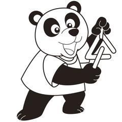 Cartoon Panda Playing a Triangle