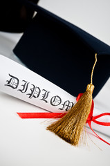 Poster Rouge, noir, blanc Graduation hat and Diploma