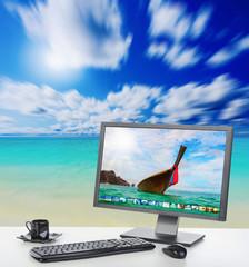 Sunny bright office on the beach