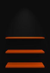 Drei Regale an Wand mit Beleuchtung - Schwarz Orange