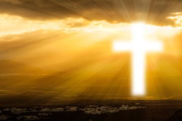 religious cross  glowing in heaven