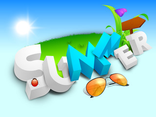 Abstract summer background with sunglasses, sign board, butterfl