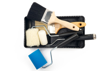 Paint tools on a tray