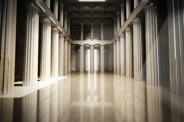 Column interior empty room, law or government background