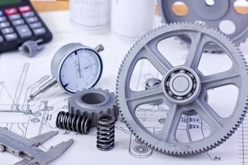 Blueprints and machine parts