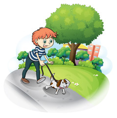 Poster de jardin Chiens A boy walking with his dog along the street